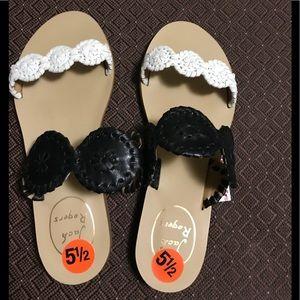 Jack Rogers Womens Black/White Flip Flops Size 5.5